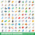 100 statistic data icons set, isometric 3d style