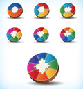 Statistical wheel charts collection of seven different templates of colourful with component divisions numbering between two and Royalty Free Stock Image