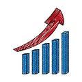 Statistics bars with arrow