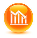 Statistics down icon glassy orange round button