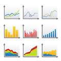 Statistics enhancing cellular communication icons on white background Royalty Free Stock Photo
