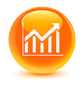 Statistics icon glassy orange round button