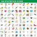 100 statistics icons set, cartoon style
