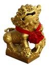 Statua cinese dorata del leone Fotografie Stock Libere da Diritti