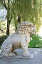 Statua su ming tomb alley cina del leone Immagini Stock Libere da Diritti