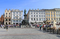 Statue of adam mickiewicz famous poet krakow poland on the main market square rynek Royalty Free Stock Images