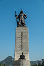 Statue of Admiral Yi Sun-shin in Gwanghwamun Square Royalty Free Stock Photo