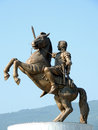 Statue of alexander the great closeup alexandre in skopje macedonia time morning in summer photo taken on Stock Image