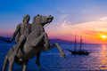 Statue of Alexander the Great at Thessaloniki city, Greece Royalty Free Stock Photo