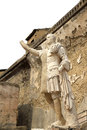 Statue in the ancient roman herculaneum italy of m nonius balbus a senator between ruins of terrace of marcus nonius balbus lies Stock Photography