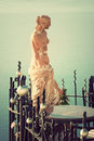 Statue of aphrodite vintage style in santorini greece Stock Photos
