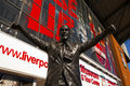 Statue of bill shankey at liverpool football club stadium the anfield home for one the english premier league f c anfield Royalty Free Stock Photos