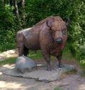 stock image of  Statue, bison, park, nature, art, black, outdoor, animal, sculpture, decoration, design, buffalo, background, face, travel, garden