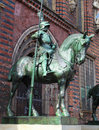 Statue in bremen of a knight at the town hall of northwestern germany Stock Images