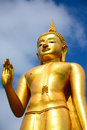 Statue buddha on blue sky background in songkhla thailand Stock Photo