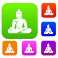 Statue of Buddha sitting in lotus pose set collection