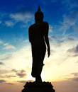 Statue of buddha on twilight in thailand asia Royalty Free Stock Photography