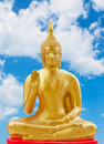 Statue of buddhism with blue sky in thailand Stock Image