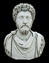 Statue Bust of a Roman Emporer, Isolated on Black Stock Photo