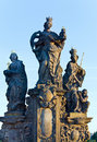The statue on Charles Bridge (Prague, Czech). Stock Photos