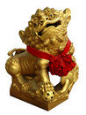 Statue chinoise d'or de lion Photos libres de droits