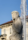 Statue at citylife milan of historic fountain lombardy italy Stock Photography