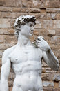 The statue of david by michelangelo on piazza della signoria in florence italy Royalty Free Stock Images