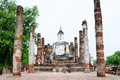 Statue of a deity in the historical park sukhothai thailand Stock Photo