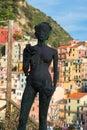 Statue della Vendemmia in Manarola in National park Cinque Terre, Liguria, Italy Royalty Free Stock Photo