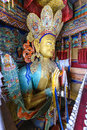 Statue depicting Maitreya at the Thikse Monastery in Ladakh, India Royalty Free Stock Photo