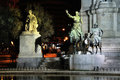 Statue of don quijote in madrid spain night view and sancho pansa plaza de espana Stock Image
