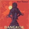 Statue of elephants in Bangkok city vintage poster.