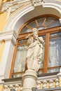Statue on the facade of the Big Saint Petersburg State Circus. Royalty Free Stock Photo