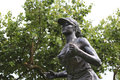 Statue of a female marathon runner there are many bronze statues commom athletes in amoy city Stock Image