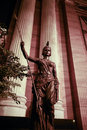 Statue of female warrior at night Royalty Free Stock Photo