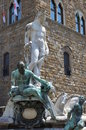 Statue on the Fountain of Neptune on the Piazza della Signoria in Florence Royalty Free Stock Photo