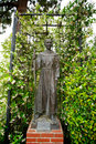 Statue of fray junipero serra the founder the california missions stands in a garden the san fernando mission Royalty Free Stock Image