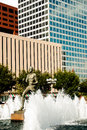 Statue in front of courthouse in st louis runner and fountains located the building taken missouri on july Royalty Free Stock Image