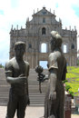 Statue in front of the ruins of st paul s one of the macau s m most famous landmarks and officially enlisted as part unesco Royalty Free Stock Photography
