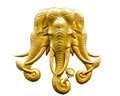 Statue of gold elephant isolated on white background Stock Photo