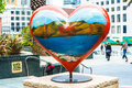 Statue of heart at union square in san francisco red Stock Image