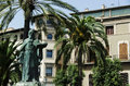 Statue and house in the street of palma of majorca spain Stock Image