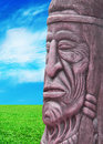 Statue of an indian head totem Royalty Free Stock Photo