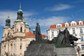 Statue of Jan Hus. Old Town Square, Prague, Czech Royalty Free Stock Photo
