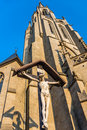 Statue of jesus christ crucified in front the church the immaculate conception the blessed virgin mary in katowice Stock Photography