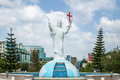 Statue of jesus christ overlooking bole medhane alem church in addis ababa ethiopia Stock Photos