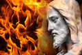 Statue of Jesus / God with fire Stock Photo