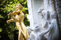 The statue of johann strauss in stadtpark in vienna austria gilded bronze Stock Photography