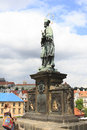 Statue of John of Nepomuk. Charles Bridge in Prague. Royalty Free Stock Image