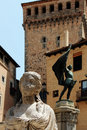 Statue of juan bravo segovia spain a foreshortened view the bronze in plaza san martin portrait cut Stock Images